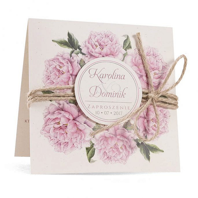 Zaproszenia ślubne modna grafika kwiatów piwonie