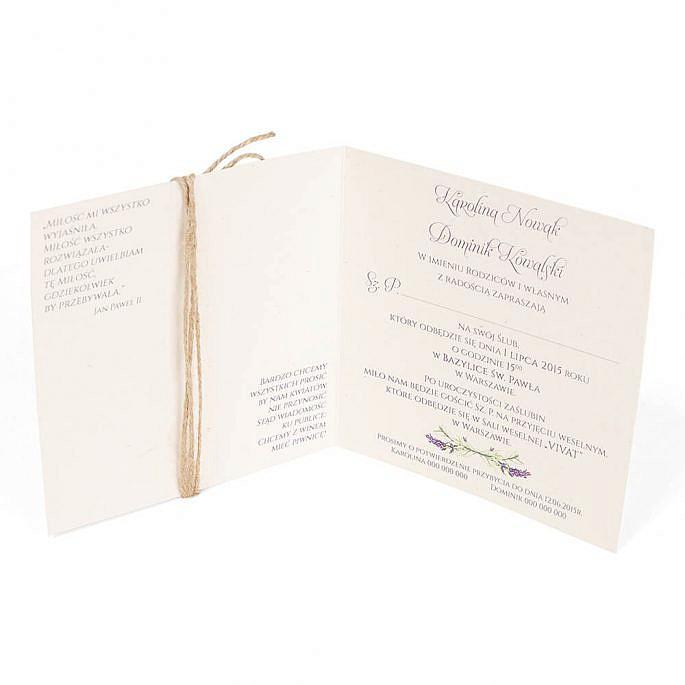 Zaproszenie ślubne modny wzór kwiatowy lawenda