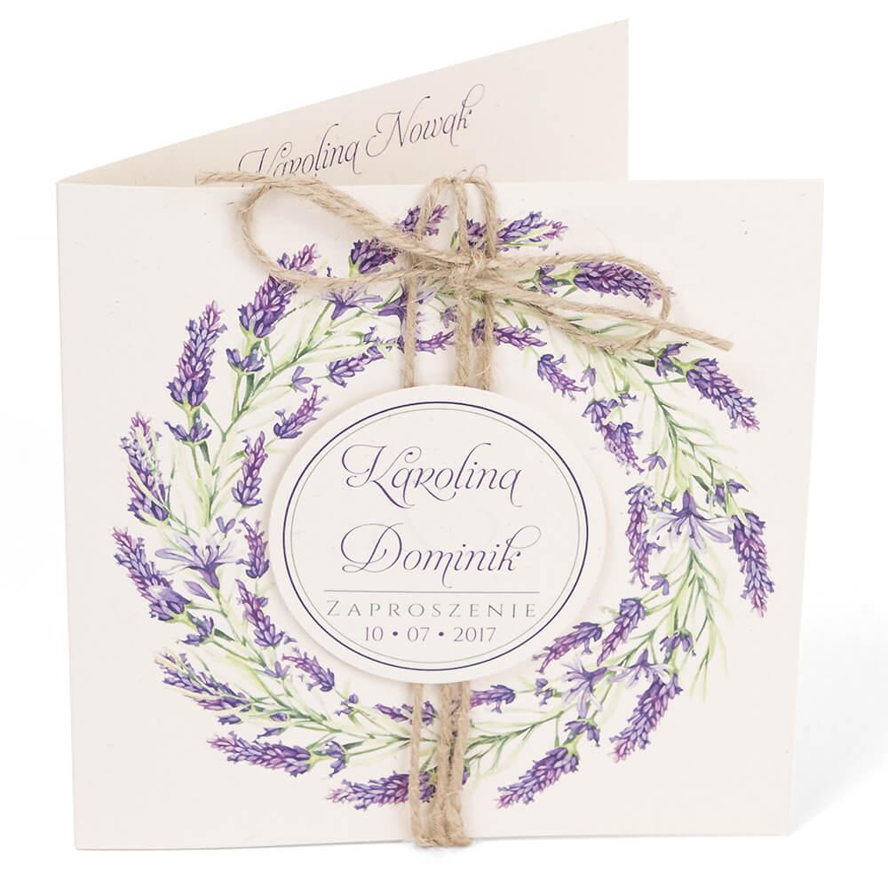Rustykalne Zaproszenia ślubne Z Grafiką Kwiatów Lawendy