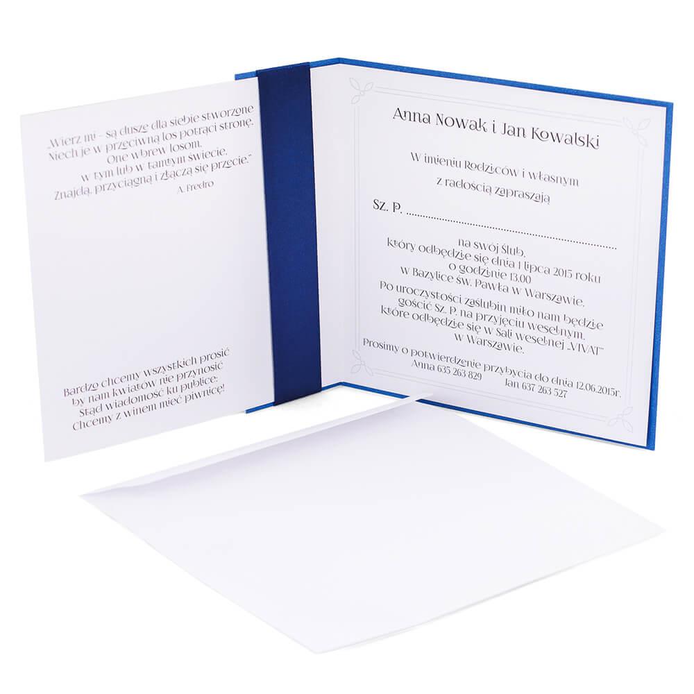 Stylowe oryginalne zaproszenie ślubne z kokardką