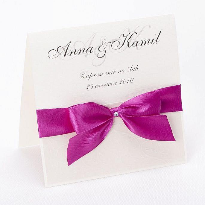 Eleganckie proste zaproszenie ślubne ozdobna kokardka papier