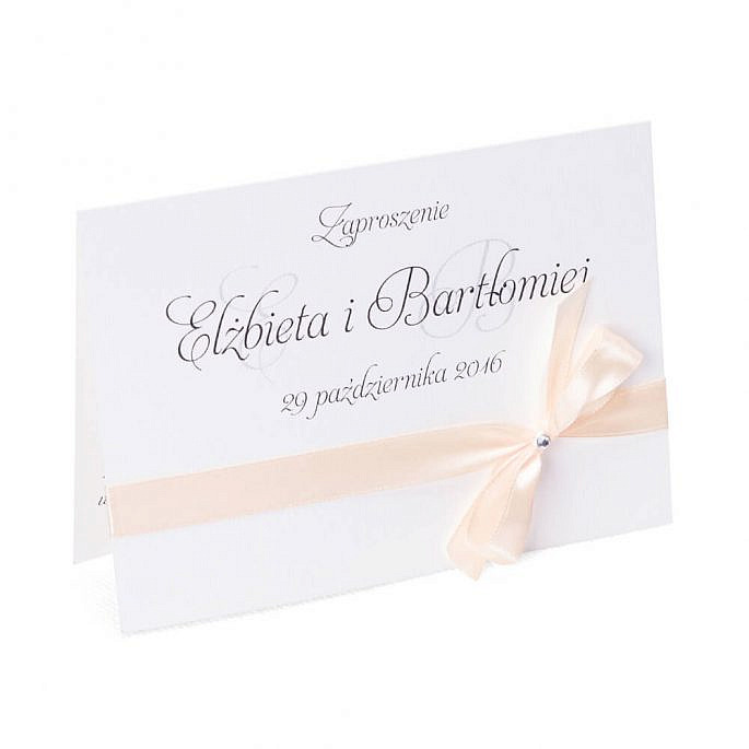eleganckie tradycyjne zaproszenia ślubne z kokardką