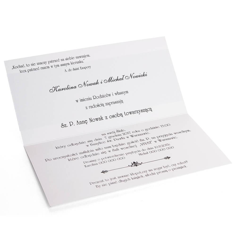 Klasyczne I Eleganckie Zaproszenia ślubne Model Aurora