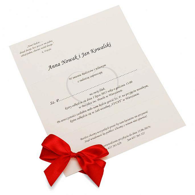 Eleganckie proste zaproszenie ślubne z kokardką kolory