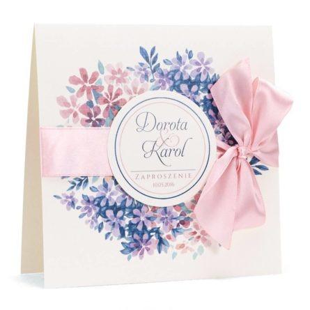 Zaproszenie ślubne modna grafika kwiatowa kolory
