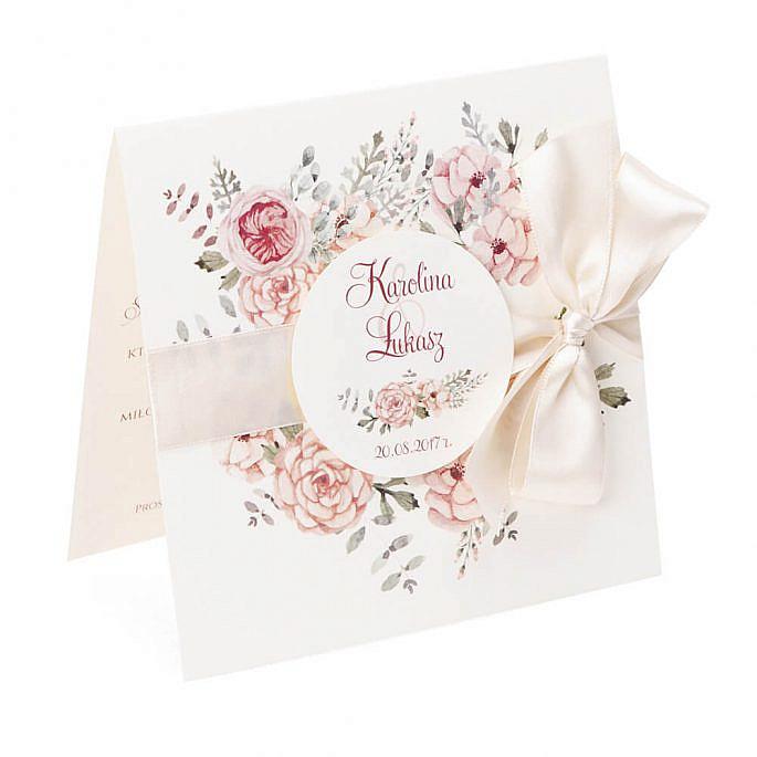 Zaproszenia ślubne modna grafika kwiatów kokardka