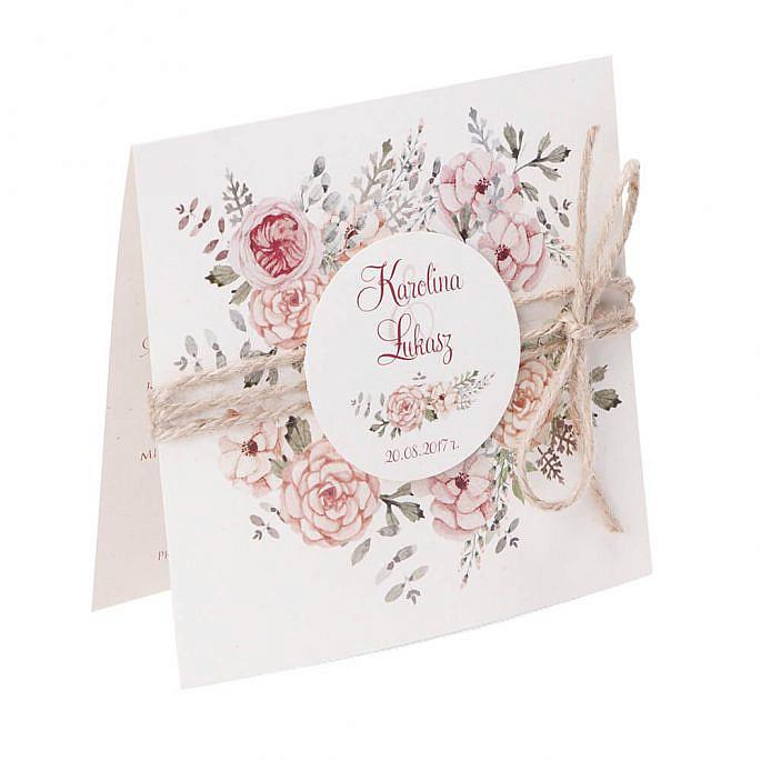 Zaproszenia ślubne modna grafika kwiatów sznurek eko