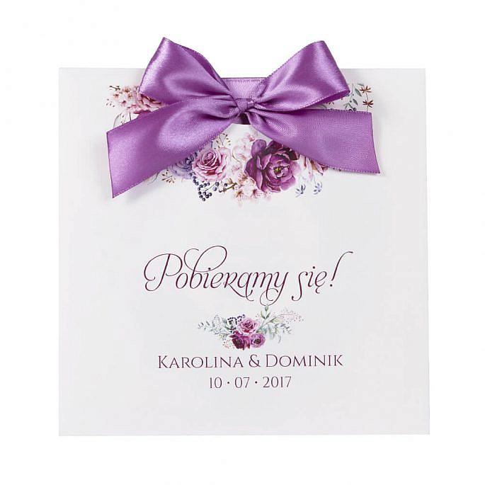 Zaproszenia ślubne modna grafika kwiatów koperta ozdobna