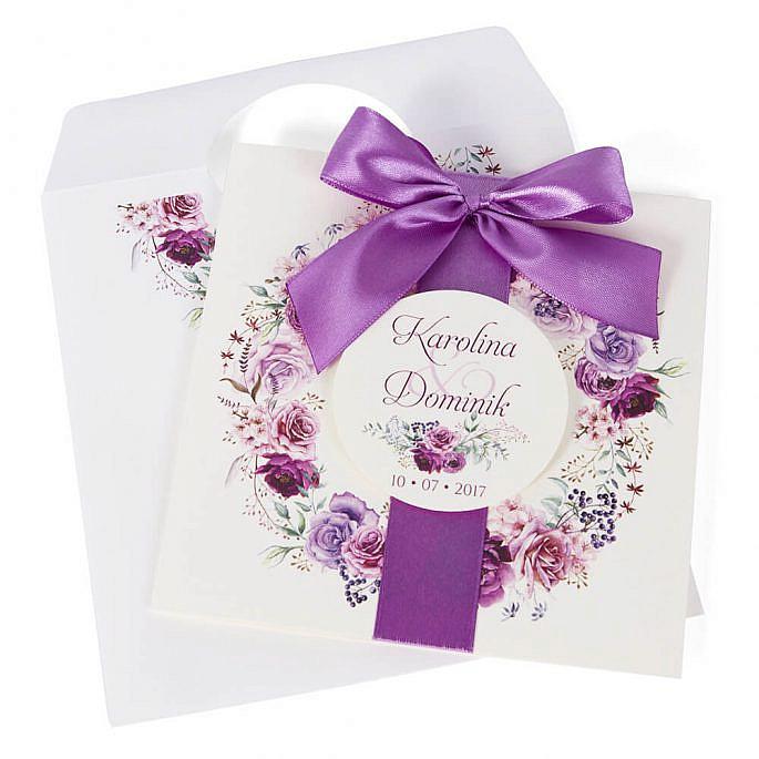 Zaproszenia ślubne modna grafika kwiatów koperta