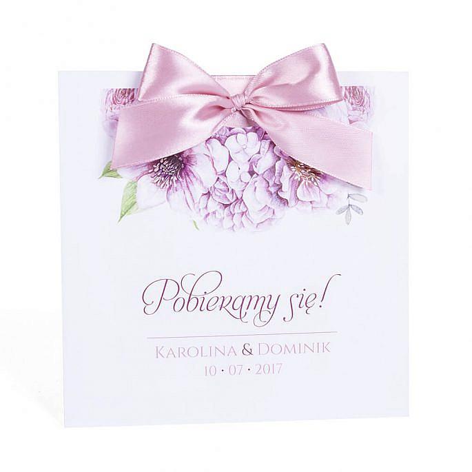 Zaproszenia ślubne modna grafika kwiatów ozdobna koperta