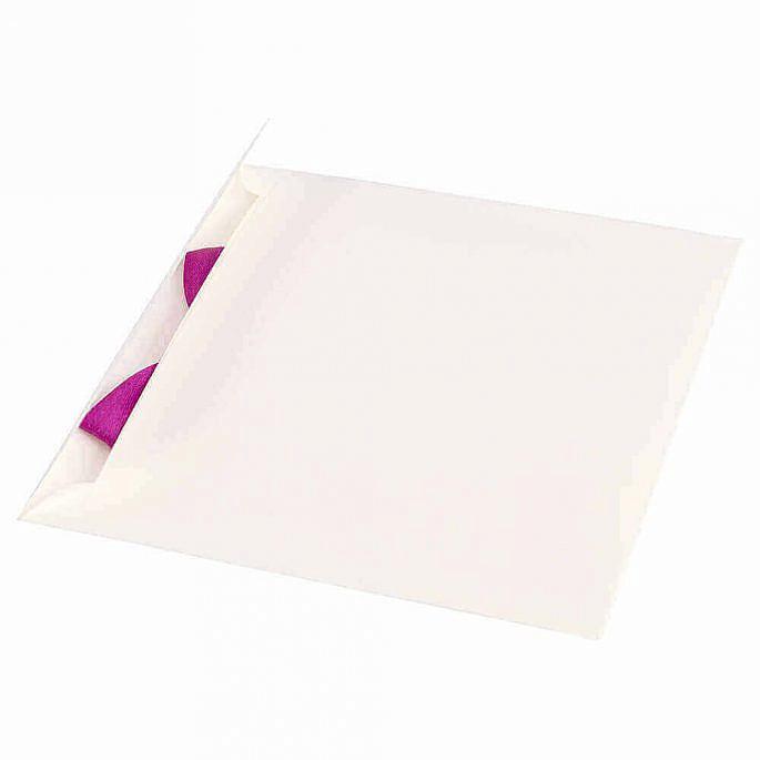 Zaproszenie ślubne tradycyjne proste kokardka papier ozdobny