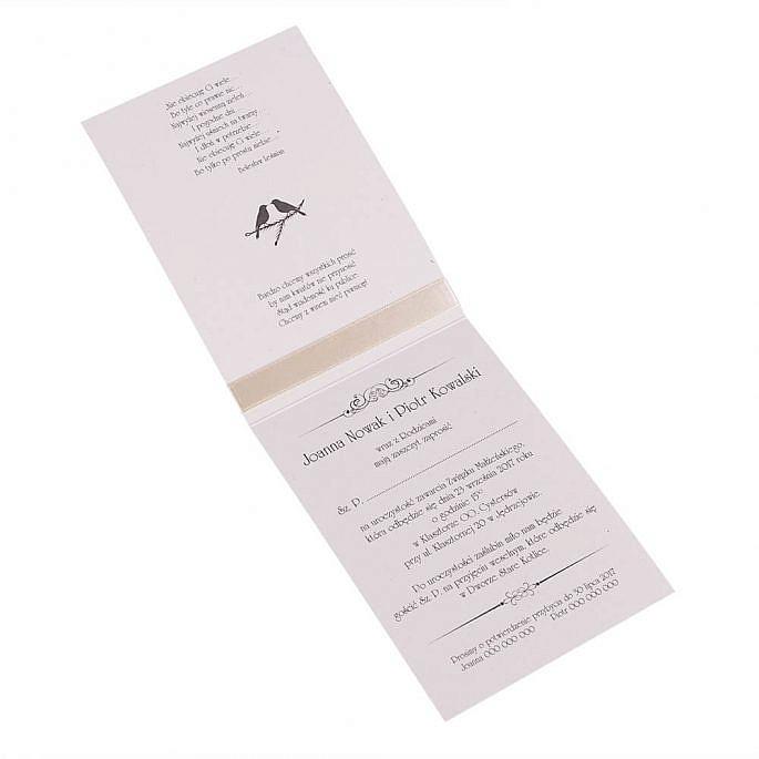 Proste i ładne zaproszenie ślubne kartka z kalendarza kokardka kolory