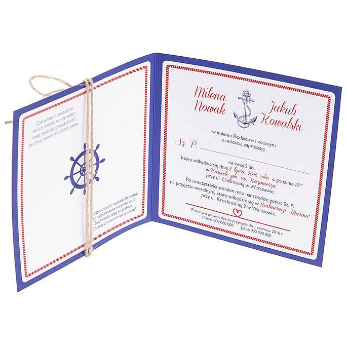 Zaproszenie ślubne modny wzór marynarski marine
