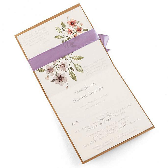 Zaproszenia ślubne kolorowe modne kwiaty retro eko