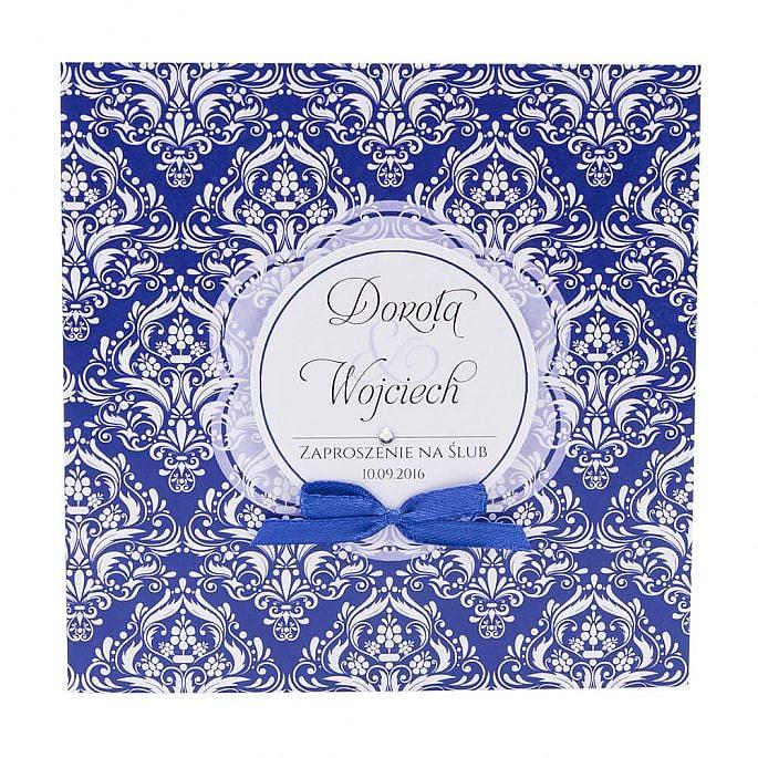 Zaproszenie ślubne kolorowy nadruk kokardka