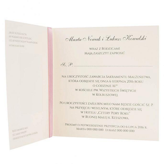 Niezwykłe zaproszenie ślubne z kokardką
