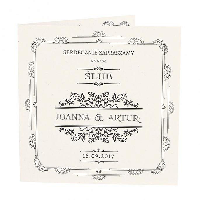 Zaproszenia ślubne retro minimalistyczne