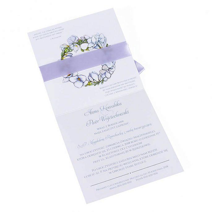 Modne kolorowe zaproszenia ślubne kwiaty frezje