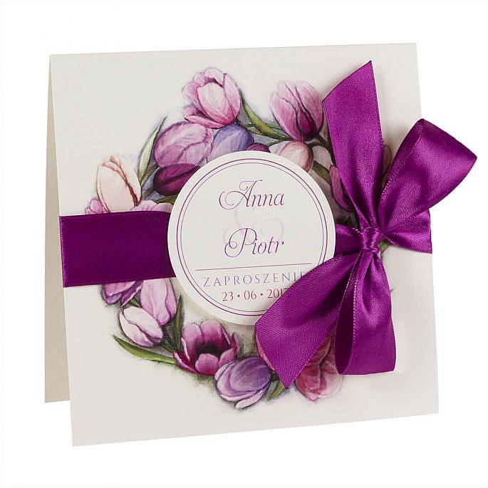 Modne kolorowe zaproszenia ślubne kwiaty tulipany wstążka