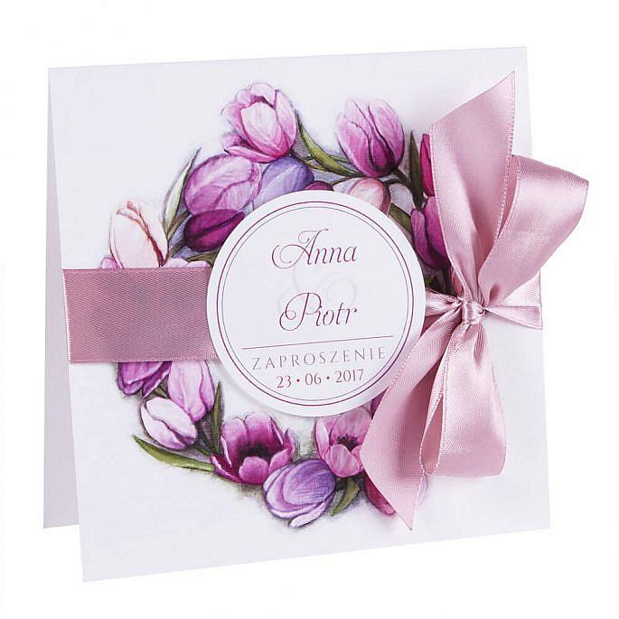 Modne kolorowe zaproszenia ślubne kwiaty tulipany