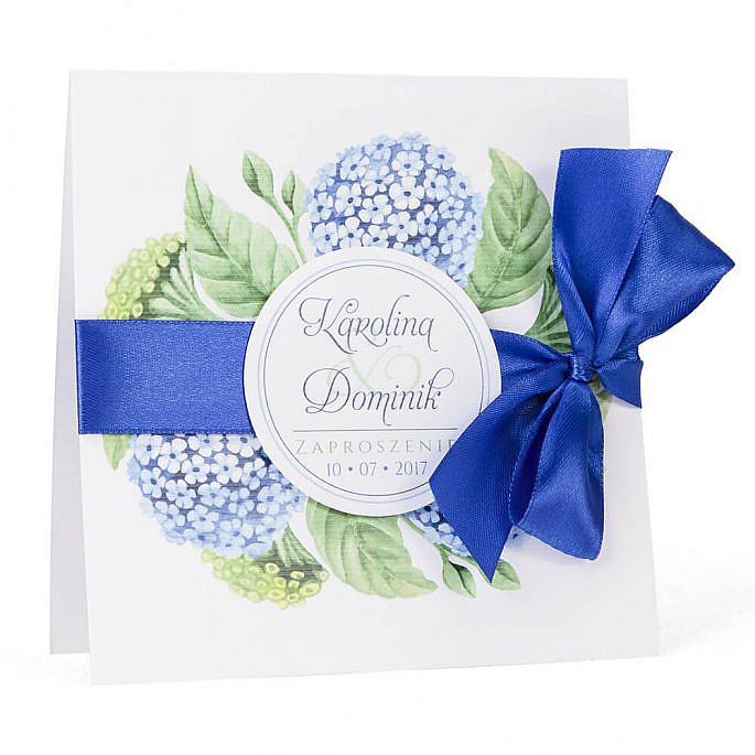 Zaproszenia ślubne kolorowe modne kwiaty hortensja