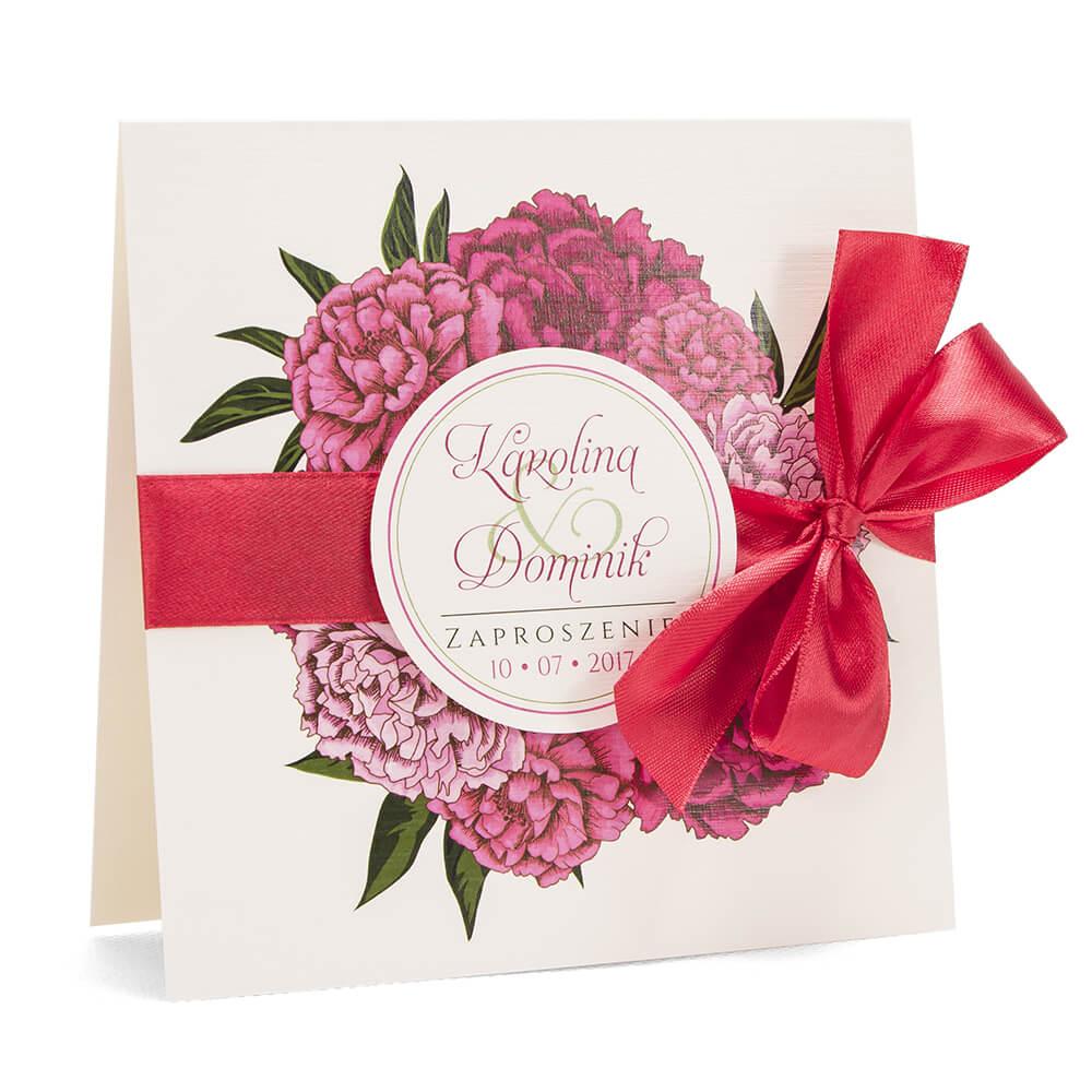 Zaproszenie ślubne modny wzór kwiatowy piwonie