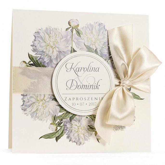 Zaproszenia ślubne modna grafika kwiatów białe piwonie