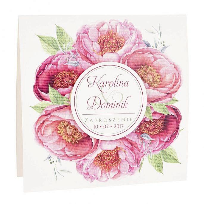 Zaproszenia ślubne modna grafika kwiatów piwonii