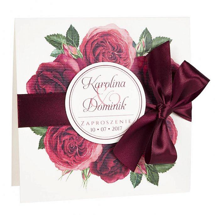 Zaproszenia ślubne modna grafika kwiatów róże