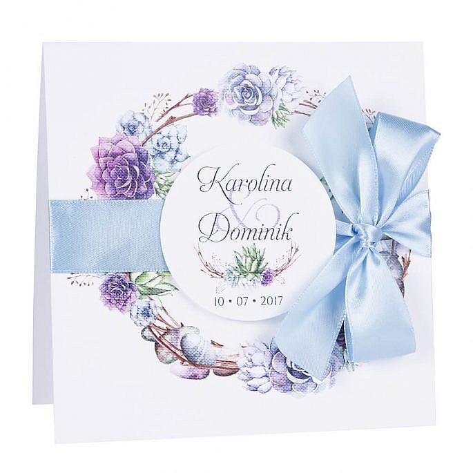 Zaproszenia ślubne modna grafika kwiatów sukulenty