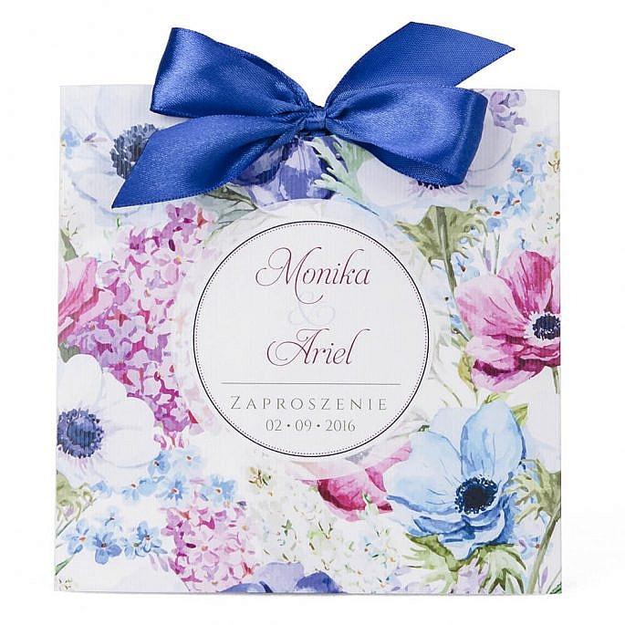 Zaproszenie ślubne grafika kwiatów modne kolorowe
