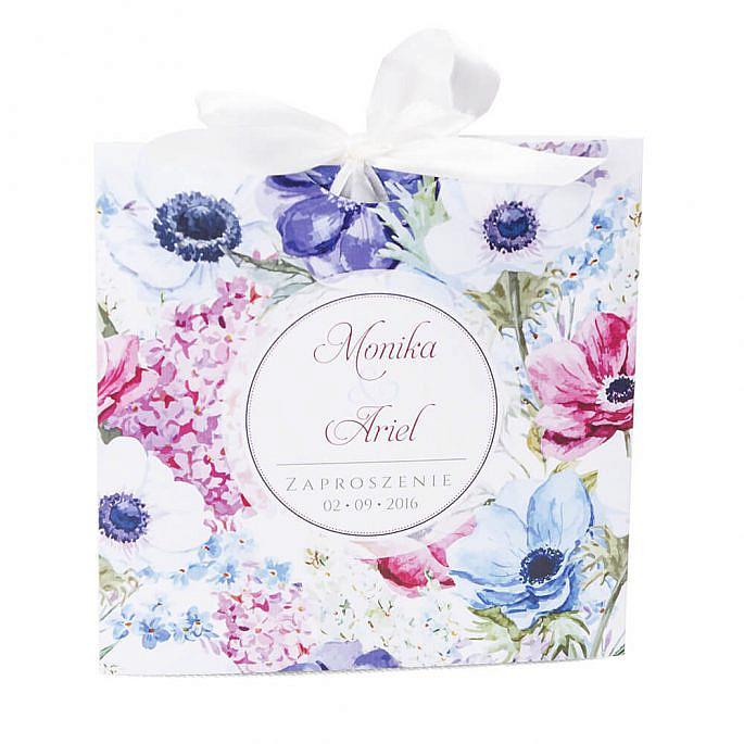 Zaproszenie ślubne grafika kwiatów modne kolorowe koperta ozdobna
