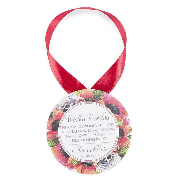 Zawieszka ozdoba na alkohol weselny grafika kwiatów maku