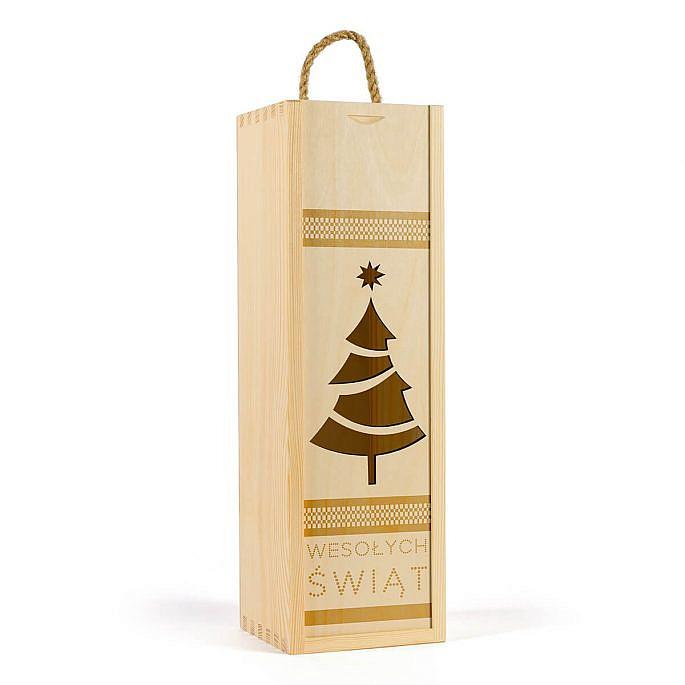 skrzynka na wino z życzeniami świątecznymi