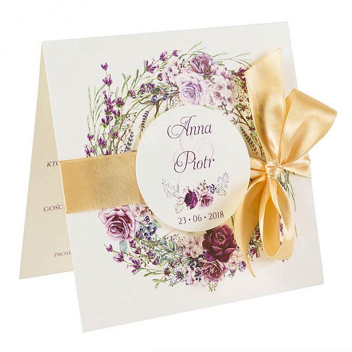 Piękne kolorowe zaproszenia ślubne modne kwiaty