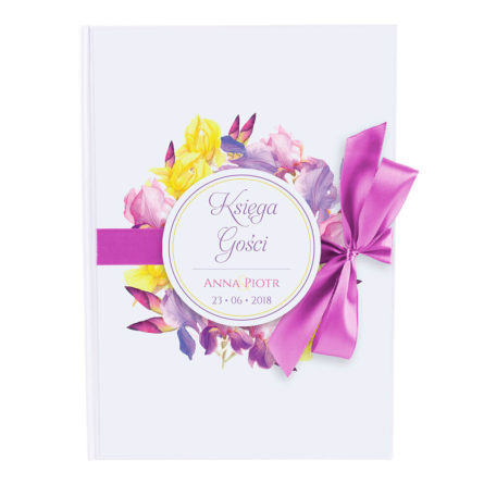 Księga gości na wpisy weselne papierowa książka a4 twarda okładka kwiaty