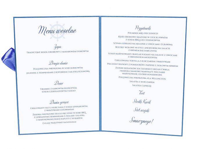 Menu weselne spis dań na stół motyw marynarski