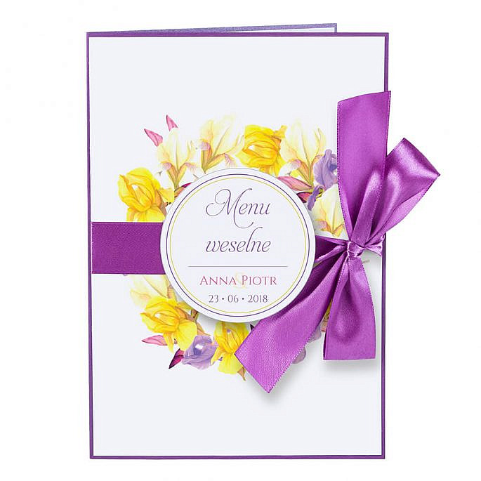 Menu weselne spis dań na stół kwiaty
