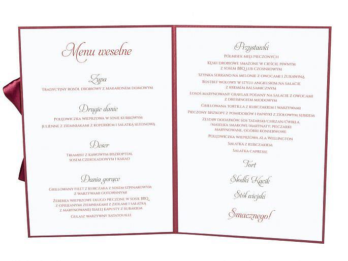 Menu weselne spis dań na stół