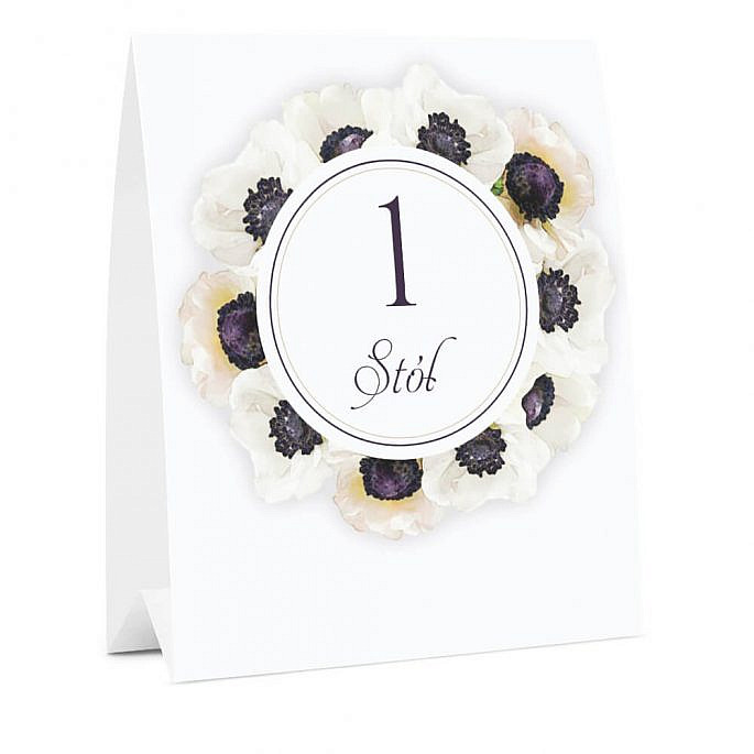 Numer oznaczenie stołu informacja anemony