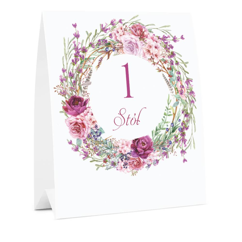 Numer oznaczenie stołu informacja kwiaty