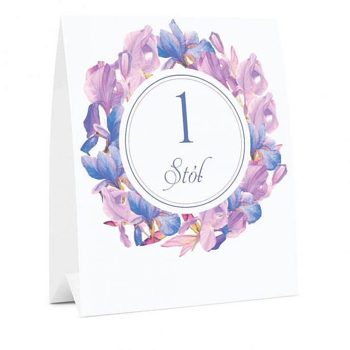 Numer oznaczenie stołu informacja irysy fiolet