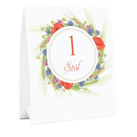 Numer oznaczenie stołu informacja kwiaty polne
