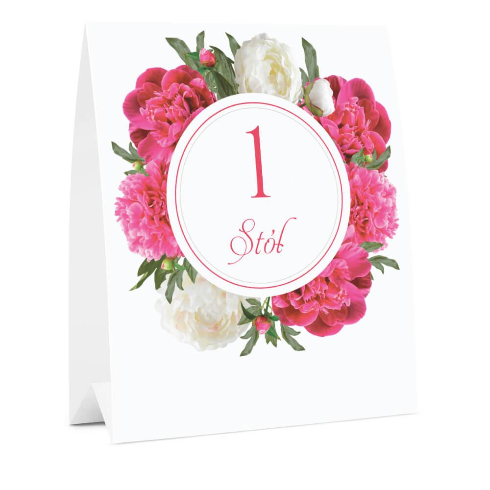 Numer oznaczenie stołu informacja biało różowe piwonie