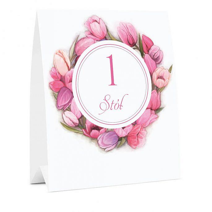 Numer oznaczenie stołu informacja tulipany