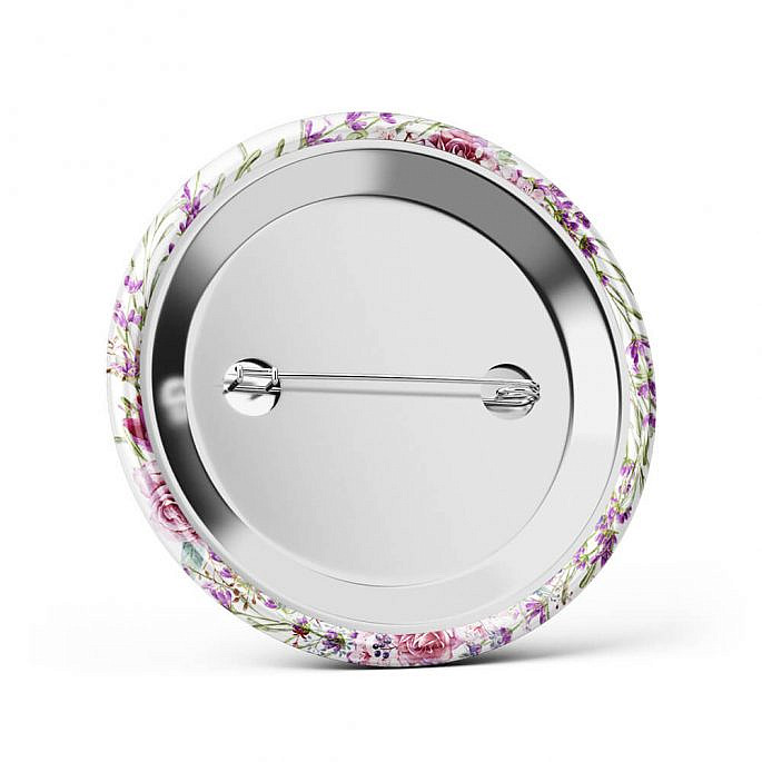 Metalowa okrągła przypinka dla gości agrafka motyw kwiatowy