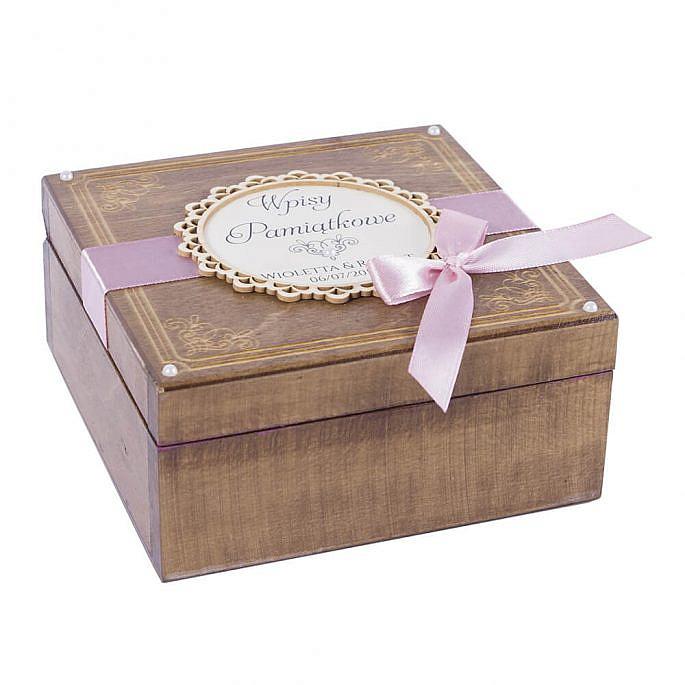Księga gości szkatułka na wpisy pamiątkowe drewniana personalizacja