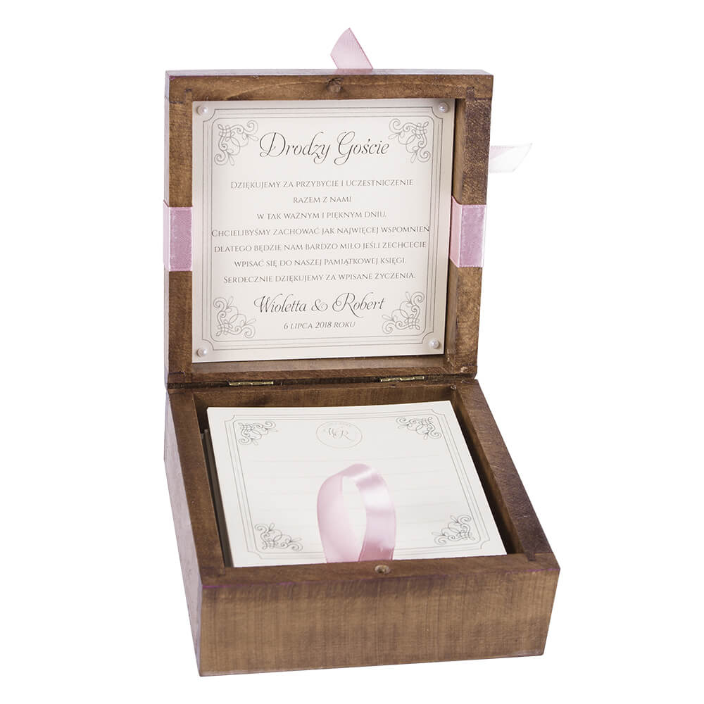 Księga gości szkatułka nawpisy pamiątkowe drewniana personalizacja