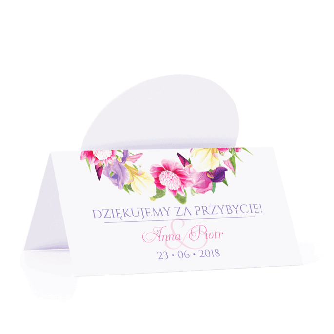 Winietka weselna motyw kwiatowy irysy personalizacja
