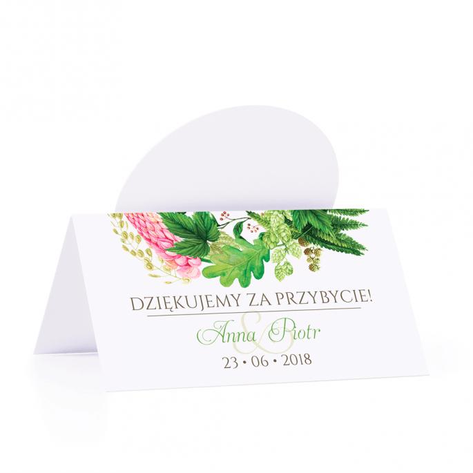 Winietka weselna motyw kwiatowy paproć łubin personalizacja